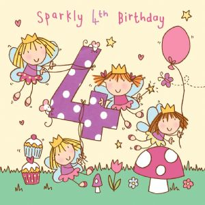 Age 4 Girls Twinkly Birthday Card